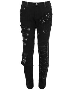 Devil Fashion Mens Punk Gothic Pants Jeans Black Dieselpunk Faux Leather Straps