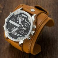 APHOTIC Japan Watchmaker 4 Timezone Quartz Watch Waterproof Wide Leather Strap