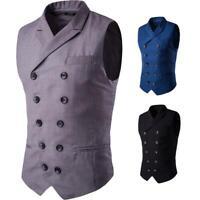 Men Vintage Gentleman Vest Costume Double Breasted Steampunk Waistcoat Coat Tops