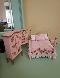 1:12 Dollhouse Master Bedroom 4-piece Set Wooden Furniture Room Pink decoupage
