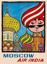 Moscow Russia St. Basil's Cathedral Air India Travel Advertisement Poster 2