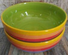Large Pasta Bowl Fair Trade Rainbow Stripe Ceramic Pottery Diameter 23 Cm