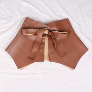 Womens Ladies Skirt Peplum Belt PU Leather Ultra Wide Cummerbunds Ruffle Belt