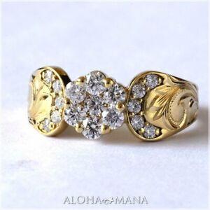 Simple 18K Yellow Gold Filled Cubic Zirconia Flower Ring Women Fine Jewelry SZ10