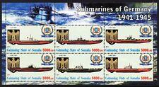 WWII German Submarine U-Boats Stamp Sheet (U-47/U-596/U-201/U-592/U-453/U-995)