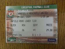 24/01/2004 Ticket: Liverpool v Newcastle United [FA Cup] (folded). Footy Progs/B