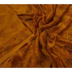 Tcw  Vintage  Printed Sarees 100% Pure Silk 5 Yard Craft Fabric Sari