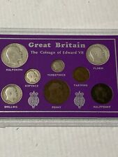 More details for coinage of edward v11  farthing to halfcrown in display card various dates