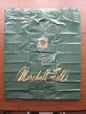 "Marshall Field's Green Plastic Bag Gold Clock Lettering 27"" wide x 31"" tall USED"