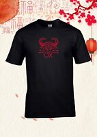 Year of the ox Chinese zodiac red black cotton Unisex T-shirt