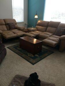 Furniture Traditional Classic Reclining Sofa Set - Beige 7' sofa, 5' love seat