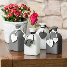 4 x Small Glass Heart Bottles Bud Vases Shabby Chic Wedding Table Decorations