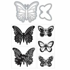 MOMENTA ART C cutting dies & clear cling stamp BUTTERFLIES for card making