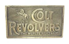 Vintage 1970s Colt Revolver Solid Brass Buckle The Worlds Right Arm C4-P