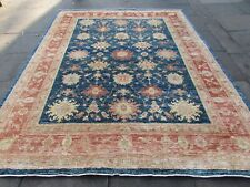 Traditional Hand Made Natural Dye Afghan Wool Blue Zigler Large Carpet 312x240cm