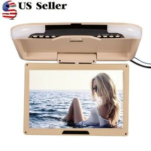 US 13'' Wide LCD TFT Car Ceiling Flip Down Monitor Auto Roof Mount TV Beige