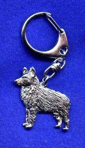Schipperke Nickel Silver Key Ring Chain Holder Jewelry*