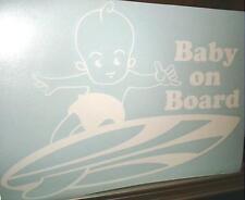 "9"" Vinyl Hawaiian Boy Baby on Board Short Surfboard Car Decal Sticker White #1S"