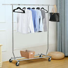 Single Bar Heavy Duty Commercial Garment Rack Rolling Collapsible Clothing Shelf