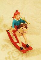 Silvestri Christmas Tree Ornament Old World Boy Horn Rocking Horse Vintage