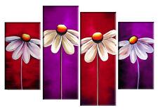 "RED PURPLE FLORAL CANVAS ARTWORK PICTURE DAISY PAINTING SPLIT MULTI 4 PANEL 40"""