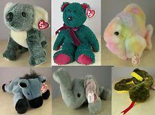 6 Big BEANIE BUDDIE Plush Toy Animals TAGS Koala Holiday Bear Fish Donkey Snake