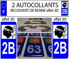 2 adhesivos de matrícula de coche TUNING CON RELIEVE RESINA REGIÓN CORSO 2B