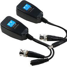 1 Pair Coax BNC Video Power Transmitter Balun Receiver To Cat5e 6 RJ45 Connector