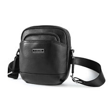 Black Men's Genuine Leather Small Shoulder Bag Crossbody Bag Zipper Pocket Purse
