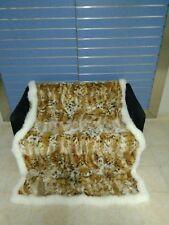 Luxury Lynx Fur Throw 100% Real Lynx Blanket Genuine Bedspread With Fox Outline