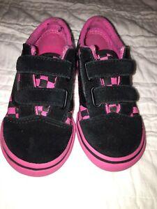 Toddler VANS Old Skool Suede/Canvas Checkerboard Skate Shoes Pink/ Black Size 8