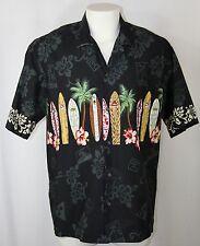 Vintage Winnie Fashion Hawaiian Shirt Black Surf Board Floral Made Hawaii Men XL