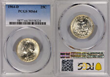 1964-D PCGS MS64 UNCIRCULATED SILVER WASHINGTON QUARTER COIN ! EXCELLENT COIN !