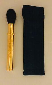 Vintage 80's Christian DIOR Powder Brush w/ Blue Velvet Pouch. Gold Tone w/ Logo