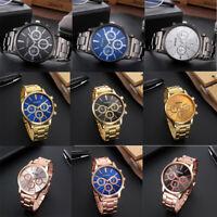 MIGEER Fashion Style Men Women Crystal Stainless Steel Analog Quartz Wrist Watch