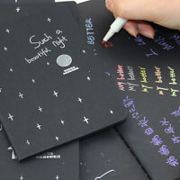 New 56K Office Notepad Paper Diary Notebook Drawing Blank Black Sketch Painting