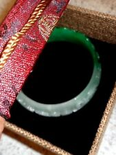 """TOP QUALITY bangle real jade Myanmar natural jadeite jewelry hand carved 2.3/4"""""""
