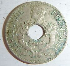 FRENCH INDO CHINA - 5 CENT HOLED COIN - 1938 - VIETNAM WAR, LAOS, CAMBODIA, 8880