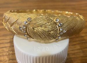 Camrose and Kross JBK Gold Tone Braided Bangle Locket W/ Rhinestones Bracelet