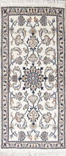 """NEW WHITE 5 ft Runner Nain Persian Oriental Hand-Knotted WOOL Rug 4' 7"""" x 2' 2"""""""