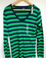 NWT GAP Women's Favorite LS V-Neck T-Shirt Striped Stretch XS S MSRP $25 New