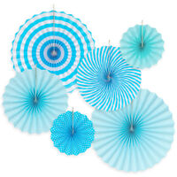 6pk Hanging Paper Fans Rosettes Event Party Wedding Decorations Pom Pom Blue