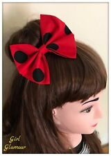 "5"" Hair Tie Bow - Spotty Black Red Polka Dot Fabric - Minnie Mouse - Headband"