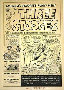 "Three Stooges Original Cover Art  #1 1953   FVF   15"" x 21""     Maurer"