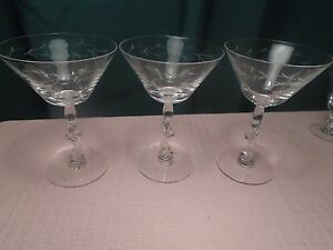 "Tiffin-Franciscan Baroque Champagne Gray Cut (3) 1950-66  5 3/4"""