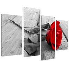 Red Rose Floral Canvas Wall Art Pictures Set 130cm Wide XL Prints 4005 by (i1W)
