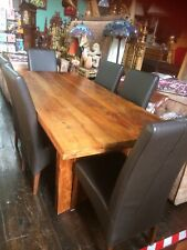 Solid Oak Dining Table Extending Ex Large Wood Refectory+ 6 Leather Chairs 210cm