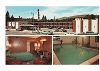 Missoula MT The Bel Aire Motel ca. 1960s Postcard Old Cars Sign VW Bug
