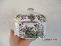 Vintage Pot Bonbonnière en céramique Vidal Arte Portugal Oiseau Lyre Fantastique