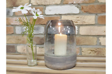Glass & Wood Crackled Hurricane Pillar Candle Holder Wedding Table Centrepiece